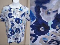 Coldwater Creek LINEN KNIT top shirt plus size 1x 18w blue white floral blouse