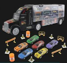 Kids 2-Sided Transport Car Carrier Semi Truck Toy With 7 Cars And Accessories