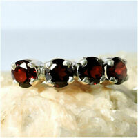 925 Sterling Silver Ring Natural Semi Precious Garnet Cut 6.5 Size Gemstone R-97