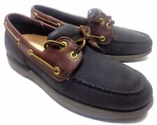 ROCKPORT BOAT SHOES DECK CASUAL BLACK BROWN LEATHER MENS SHOES 7 M