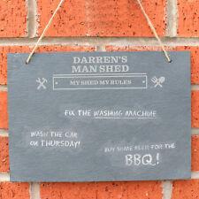 Man At Work Hanging Slate Sign Personalised Shed Garage Workshop Dad Grandad
