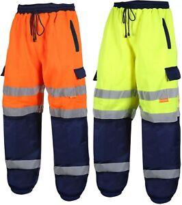 HiVis Jogging Bottoms Trousers Pants Reflective 2 Tone Work Wear Pockets Joggers