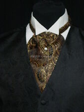 Cravat ascot wedding old west vintage style tie black and brown made in USA