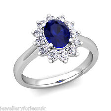 18Carat White Gold Natural Blue Sapphire & Diamond Oval Cluster Ring 2.27 carats