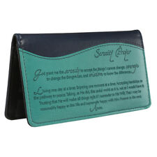 Checkbook Cover Serenity Prayer Turquoise/Navy Blue Faux Leather BRAND NEW