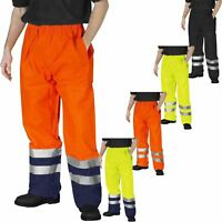 HI VIZ WATERPROOF RAIN OVER TROUSERS MENS ELASTICATED HIGH VIS VISIBILITY PANTS