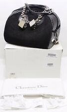 CHRISTIAN DIOR Python Suede Gambler Bag Dice Bowler Black Handbag 100% Authentic