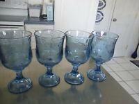 "Set of 4 LIGHT BLUE GLASS 16 oz WATER GOBLETS 7 1/2"" TALL X 3 7/8"" ACROSS RIM"