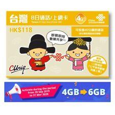 Taiwan 4G 8 Days 6GB Data Prepaid SIM Card Voice SMS No Contract China Unicom