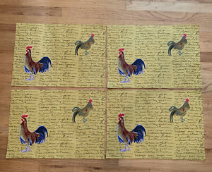 Williams Sonoma Placemat French Country  Rooster Print Yellow Cotton  Set Of 4