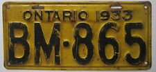 Ontario 1933 License Plate # BM-865