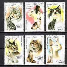 Chats Afghanistan (9) série complète de 6 timbres oblitérés