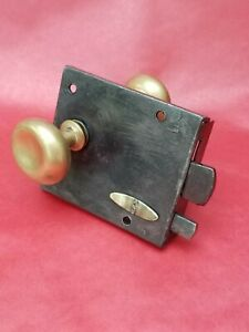 A & F.W.H Wrought Iron Plate Rim Lock Latch. Late 18th early, 19th Century.