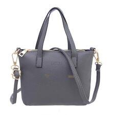 Women Handbag Shoulder Bag Faux Leather Messenger Hobo Satchel Purse Tote Gray
