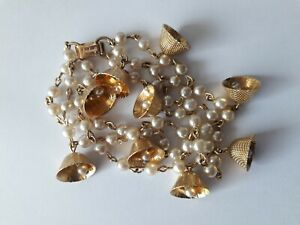 Vintage Corocraft Jewelcraft Bracelet Gold Tone Faux Pearl's and Bells