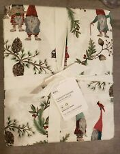 NWT - POTTERY BARN Organic Forest GNOME Holiday KING 4-Pcs Sheet Set - GREEN