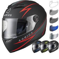 Agrius Rage Fuse Motorcycle Helmet & Visor Bike Rider Full Face Motorbike Crash