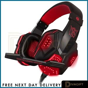 Gaming Headset USB Wired Over LED Headphones Stereo Mic For Xbox One/PS4 PC PS5