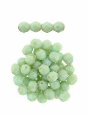50 Stardust Pale Green Czech Glass Faceted Fire Polished Beads 6MM