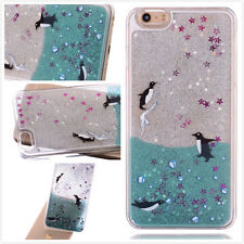 Cute Penguins Dynamic Liquid Glitter Quicksand Case Cover For iPhone 8 X 6s 7+