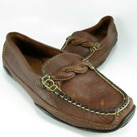LL Bean Driving Moccasins Womens Size 8M Brown Textured Leather Slip-On Loafers