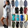 Women Hooded Sweatshirt Hoodie Mini Dress Long Sleeve Hoody Pullover Jumper Tops