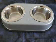 DOUBLE DINER SET - (S) - Non-Slip Dog Cat Food Water Bowls dm Metal Dish