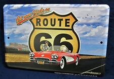 Route 66 - CORVETTE -*US MADE* Full Color Metal Sign - Man Cave Garage Bar Decor