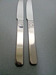 """2 Reed & Barton TELLURIDE  Glossy 9 1/8"""" Dinner Knives Stainless Flatware Korea"""