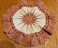 "Beautiful Vintage doily crocheted Round Crochet Handmade Silver thread 8"" Mauve"