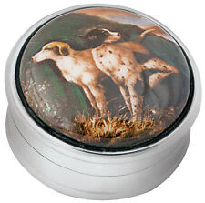ENAMEL HUNTING DOGS PICTURE PILLBOX HALLMARKED STERLING SILVER FROM ARI D NORMAN