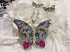 summer  CRYSTAL BUTTERFLY EARRING NECKLACE SET W/CHAIN SILVER PLT 925 COLORFUL