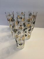 VTG Libbey Set Of 6 Black, Gold Coins High Ball Tom Collins Glasses 22K Gold 7""