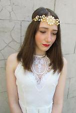 Gold Ivory Pearl Vintage Headpiece Dress 1920s Great Gatsby Headband Flapper U28