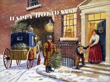Happy Holidays Metal Sign, Vintage Horse and Wagon, Christmas Tree Delivery