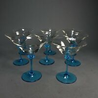 "8  Clear Swirl Cone Cups & Light Blue Base Hand Blown Martini Glasses 5.5"""