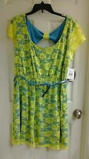 Paperdoll, women's size XL dress neon yellow lace turquoise lining keyhole back
