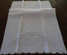 Large Vintage Irish Linen Bath Hand Towel Mosaic Lace Embroidered Cutwork