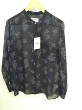 Essentiel Antwerp Muriel Button Down Blouse Size 10. Black/ Purple Floral Print