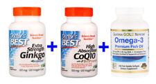 Ginkgo,120 mg, /CoQ10 w/BioPerine, 100 mg,120 Veggie Caps /Omega-3, Premium Fish