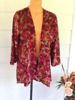 Travel Elements Open Cardigan Sweater Cover Up Reds Velvet Insets Medium NWT$108
