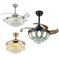 """36""""/42""""Modern Crystal LED Ceiling Fan Light Chandelier Invisible Ceiling Lamp+RC"""