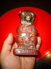 Ancienne Tirelire unique en terre Cuite OURS nommé TEDDY ( Bear ) art populaire