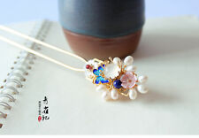 High Quality Chinese Classical Women Hairpin Hair Accessories White Flower Natur