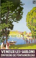 FONTAINEBLEAU Veneux-Les-Sablons ART Deco poster by Prieur on linen c1930 RARE