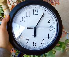 """9"""" Quartz Black Case Wall Clock New one battery operated"""