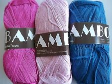 MeiMei Bamboo 100% bamboo yarn, mixed 3 skeins, blue/pink/fuchsia (181 yds ea)