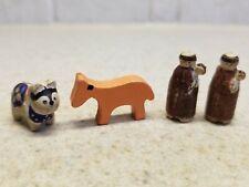 Vintage Set Of 4 Italian Mini Miscellaneous Carved Figures Anri Italy
