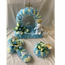 Baby Funeral Flower Tribute Package Artificial Silk Wreath Gates of Heaven Blue
