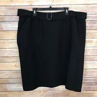 Tahari ASL Womens 22W A Line Pencil Skirt Solid Black Belted Above Knee Career